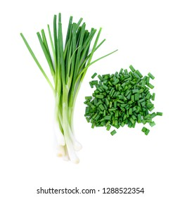 Chopped green onion isolated on white background top view