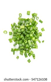 Chopped green onions isolated on a white background
