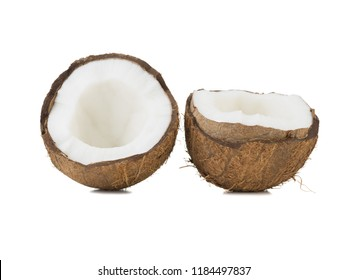 Chopped in half and whole coconuts isolated on white background. The concept of exotic fruits full of vitamins.