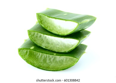 Chopped leaf aloe vera isolated on a white background.