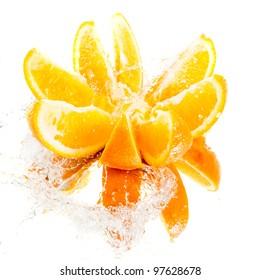 Chopped orange in water splash