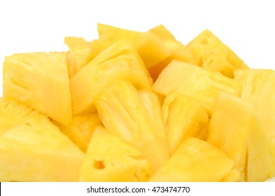 chopped of pineapple fruit isolated on white background