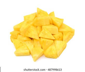 chopped pineapple isolated on white background