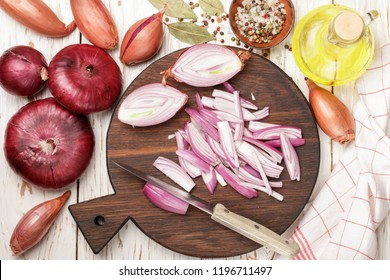 Chopped red onions. Ingredients for onion chutney, marmalade, jam, marinade,  confiture, pickle.  Preparation of delicious snacks. Selective focus