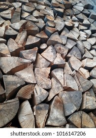 Chopped and split logs, stacked firewoods