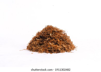 chopped tobacco on a white background