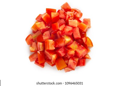 Chopped tomatoes  isolated on white background.