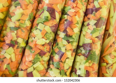 Chopped vegetables - mix - packed in plastic bag - sale of organic products - healthy, vegetarian