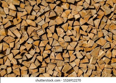 chopped wood in the woodpile