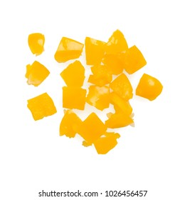 Chopped yellow pepper isolated on white background