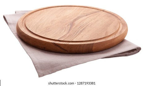 Chopping board with cloth separated from white background