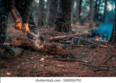 Chops tree in wood with sharp ax, close up axe, wood chips fly. Horizontal, blurred Background