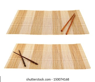 Chopsticks eating utensils over a bamboo mat composition, isolated over white background, set of two foreshortenings