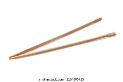 Chopsticks made of bamboo on white background