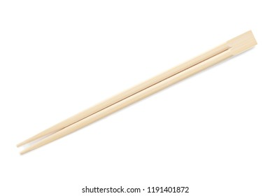 Chopsticks made of bamboo on white background, top view