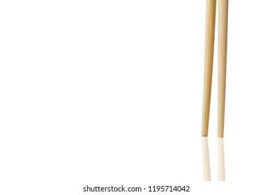 chopsticks on white background.