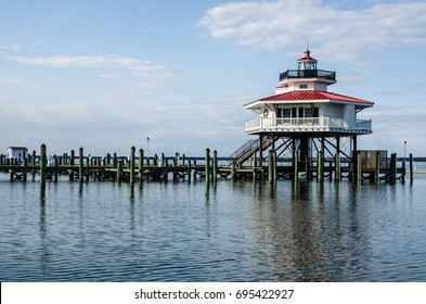 Choptank River Lighthouse in Cambridge Maryland, on Maryland's Eastern Shore also known as Delmarva.
