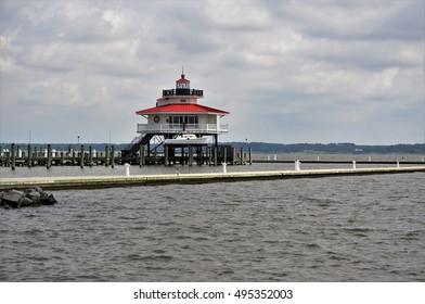 Choptank River Lighthouse, Cambridge waterfront, MD, USA