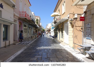 Chora, Andros island / Greece - June 03 2018: Photo from pictruesque streets of Andros island chora with many traditional neoclassical houses, Cycaldes, Greece