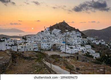 Chora of Ios Island, a Greek island in the Cyclades group in the Aegean Sea. Greece