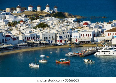 Chora port with Windmills in the background, Mykonos, Cyclades, Greece