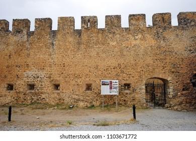 CHORA SFAKION, GREECE - CIRCA MAY 2018 Frangokastello castle. The castle was built by the Venetians in 1371-74.