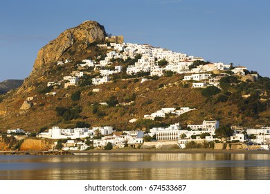 Chora of Skyros island as seen from a nearby beach, Greece.