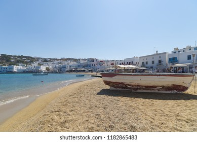 Chora village ( Beach and harbor ) - Mykonos Cyclades island - Aegean sea - Greece