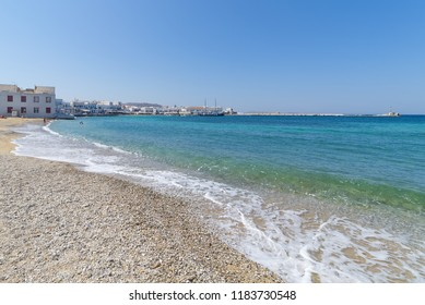 Chora village ( Beach and harbor ) - Mykonos Cyclades island - Aegean sea - Greece