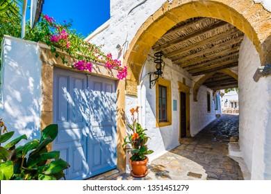 Chora Village old street view in Patmos Island