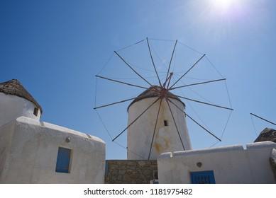 Chora village ( Windmills ) - Mykonos Cyclades island - Aegean sea - Greece
