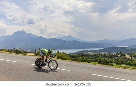 CHORGES, FRANCE- JUL 17:The Slovenian cyclist Kristijan Koren from Cannondale Team pedaling during the stage 17 of Le Tour de France 2013, a time trial between Embrun and Chorges on July 17 2013