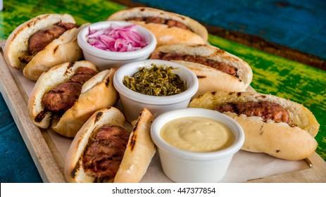 choripan, chorizo hot dog, Argentine food