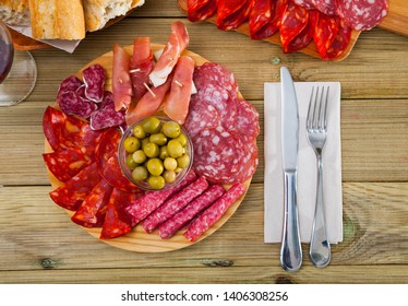 Chorizo, fuet, jamon, salami, bacon, spanish meat antipasto platter