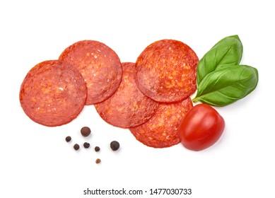 Chorizo sausage slices, Traditional spanish sausage, isolated on white background.