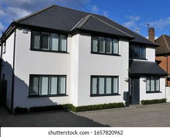 Chorleywood, Hertfordshire, England, UK - February 27th 2020: Modernised detached property in Blackets Wood Drive, Chorleywood