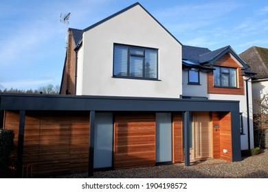 Chorleywood, Hertfordshire, England, UK - January 28th 2021: Modern detached property in St. Peters Way, Chorleywood