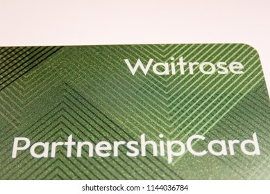 Chorleywood, Hertfordshire, UK - July 28th 2018: Close-up of John Lewis and Waitrose Partnership Card