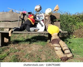 Chorleywood, Hertfordshire, UK - September 21st 2018: Chorleywood Magazine Scarecrow Trail 2018 - Aslan and King Peter (Narnia)