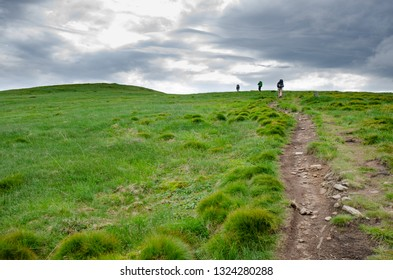CHORNOHORA MOUNTAINS, UKRAINE   - JUNE 11, 2018 : People hiking in Ukrainian Chornohory  mountains during summer.