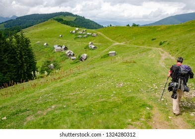 CHORNOHORA MOUNTAINS, UKRAINE   - JUNE 16, 2018 : People hiking in Ukrainian Chornohory  mountains during summer.