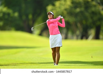 Chorphaka Jaengkit of Thailand in action during The Ladies European Thailand Championship 2019 Round 2 at Phoenix Gold Golf&Country Club on June  21, 2019 in Pattaya Chonburi, Thailand.