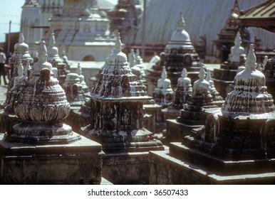 Chortens at Swyambunath,   Kathmandu, Nepal, Asia