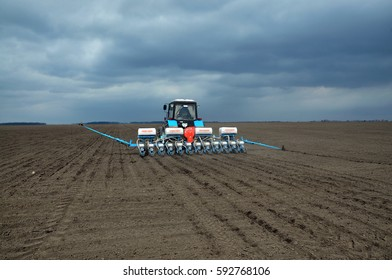"Chortkiv - Ternopil - Ukraine - April 1, 2014. Planting early crops using precision seeding the fields agricultural company ""Trust""."