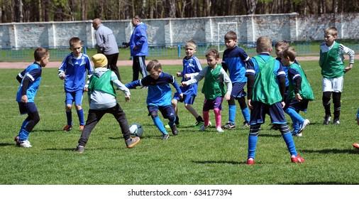 Chortkiv - Ternopil - Ukraine - April 18, 2017. Festival of children's football in the Ukrainian city Chortkiv with famous former players