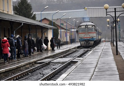 Chortkiv - Ternopil - Ukraine - February 1, 2016. Diesel train arrives at the platform of the passenger station Chortkiv