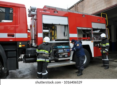 Chortkiv - Ternopil - Ukraine - February 2, 2018. Modern fire and rescue car state fire and rescue unit in the city of Chortkiv
