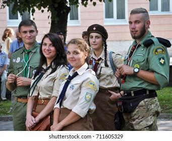 "Chortkiv - Ternopil - Ukraine - July 23, 2017. Members of the National Scout Organization of Ukraine ""Plast"" during the celebrations in the Ukrainian city of Chortkiv"
