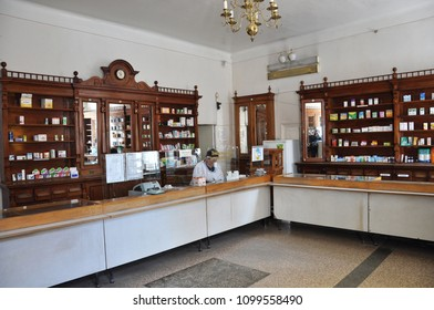 Chortkiv - Ternopil - Ukraine - May 17, 2018. The interior of the old pharmacy in Chortkiv which has been in operation for more than 100 years