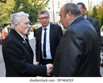 Chortkiv - Ternopil - Ukraine - October 14 2014 Levko Lukyanenko - Ukrainian dissident and politician Soviet times,  deputies of Ukraine, Hero of Ukraine during meetings in Chortkiv.